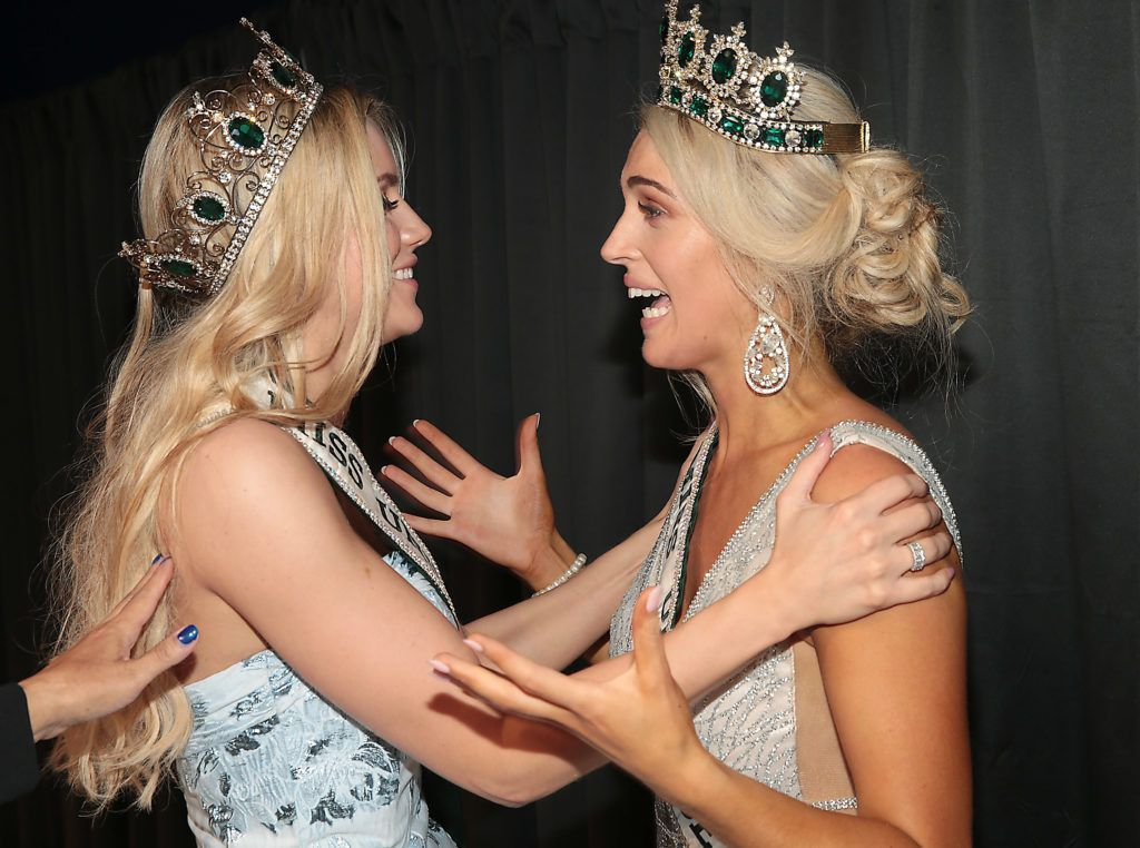 Miss Universe Ireland 2017 Cailin Aine Ni Toibin (left) with  Miss Universe Donegal Grainne Gallanagh  (Right) who was crowned winner of Miss Universe Ireland 2018 at the final of Miss Universe Ireland 2018 at the Round Room of Dublin's Mansion House. Picture: Brian McEvoy.