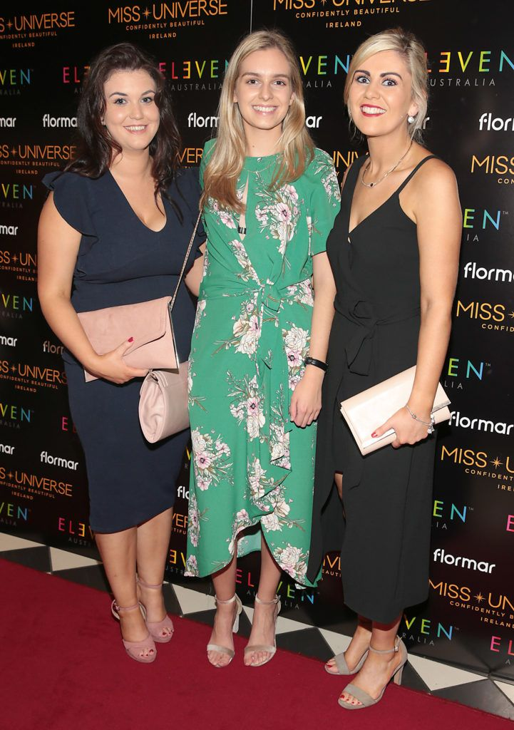 Roseanne Mulhern,Demi Henderson and Amy Grant at the final of Miss Universe Ireland 2018 at the Round Room of Dublin's Mansion House. Picture: Brian McEvoy.