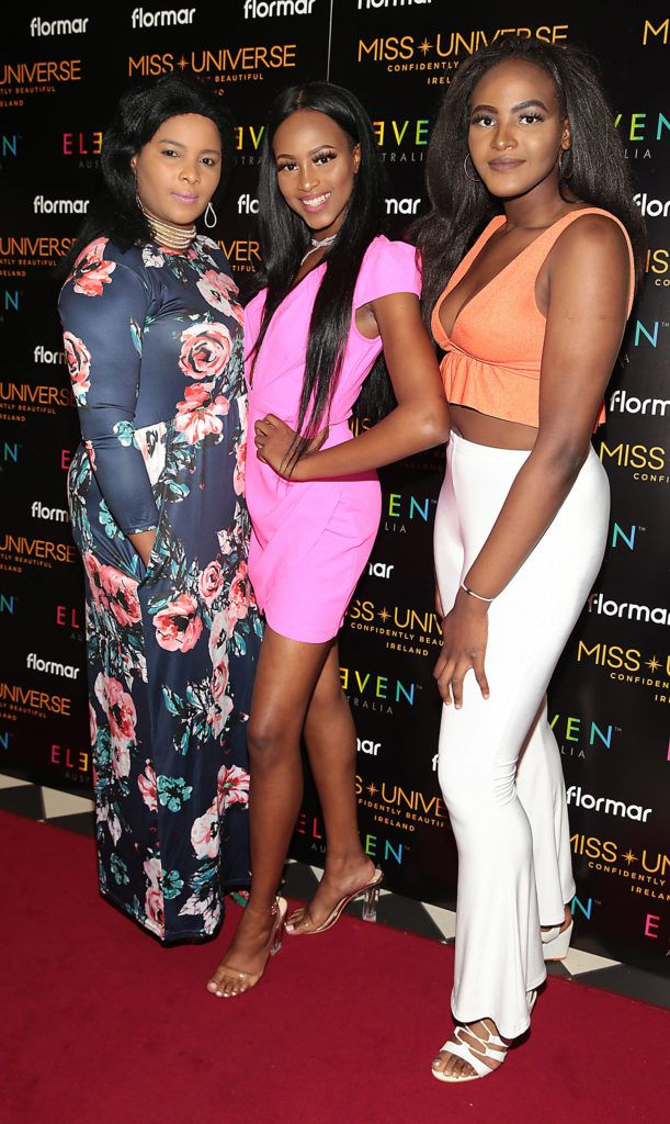 Kemi   Akorede ,Aishah   Akorede  and Fatimah Akorede at the final of Miss Universe Ireland 2018 at the Round Room of Dublin's Mansion House. Picture: Brian McEvoy.