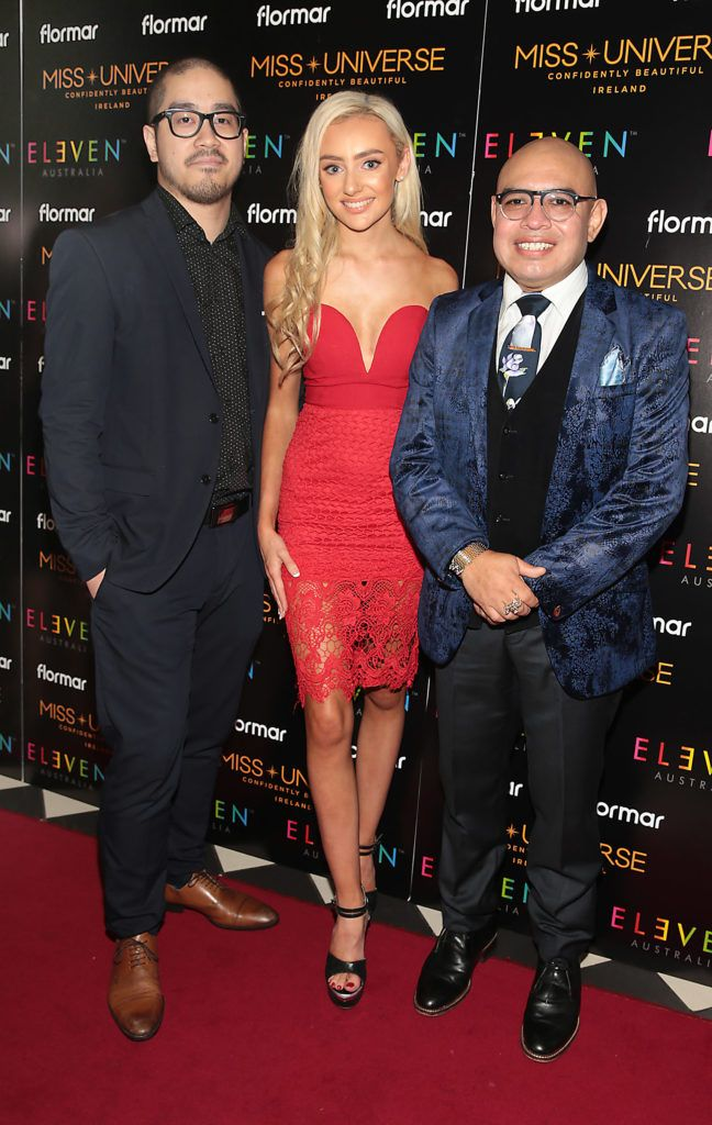 Victor Gonzales ,Chloe O Loughlin and Antonio Chavez at the final of Miss Universe Ireland 2018 at the Round Room of Dublin's Mansion House. Picture: Brian McEvoy.