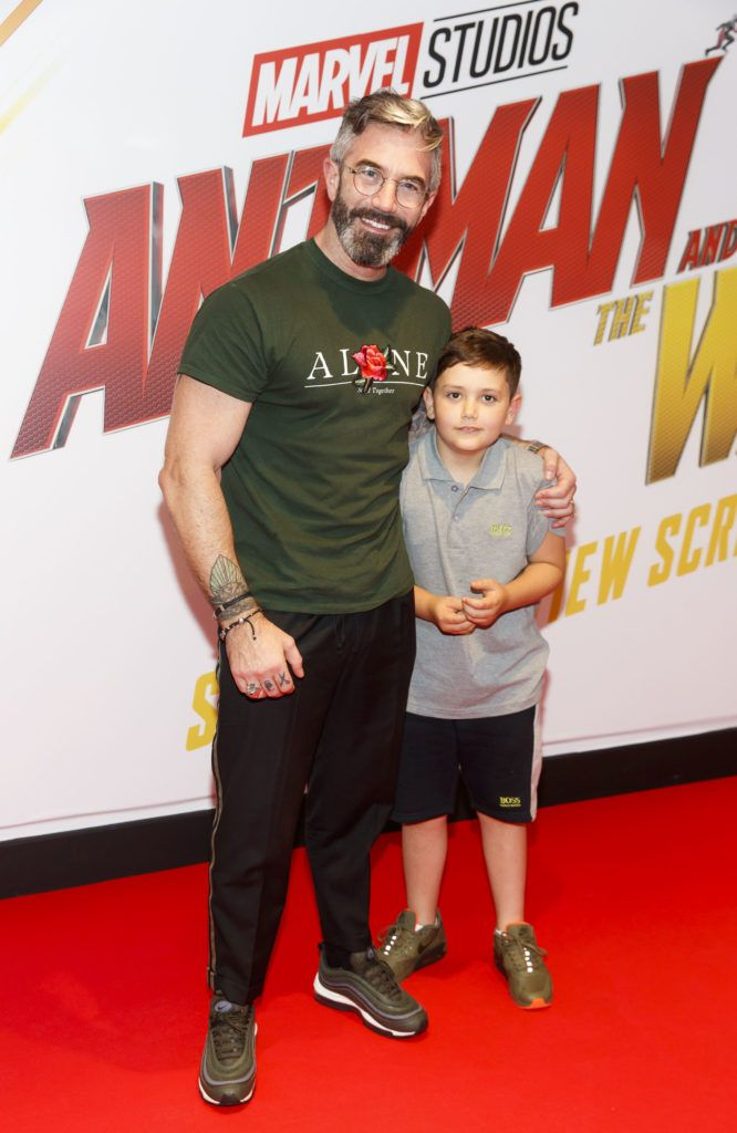 Mark O'Keeffe and son Ely (9) pictured at the Marvel Studios special preview screening of ANT MAN AND THE WASP in Cineworld IMAX Dublin. Picture Andres Poveda