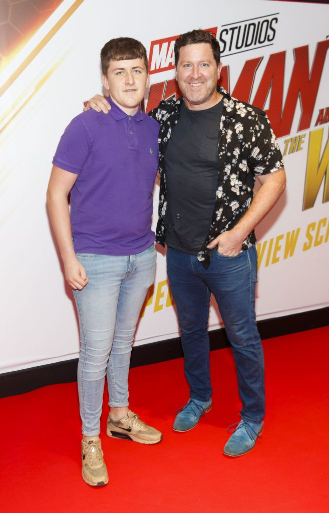 Jude Burke and Maclean Burke pictured at the Marvel Studios special preview screening of ANT MAN AND THE WASP in Cineworld IMAX Dublin. Picture Andres Poveda