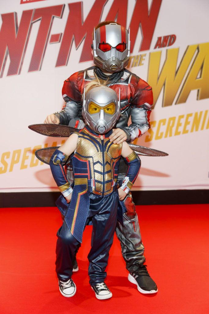Lana O'Brien (4) and Tony O'Brien (8) pictured at the Marvel Studios special preview screening of ANT MAN AND THE WASP in Cineworld IMAX Dublin. Picture Andres Poveda