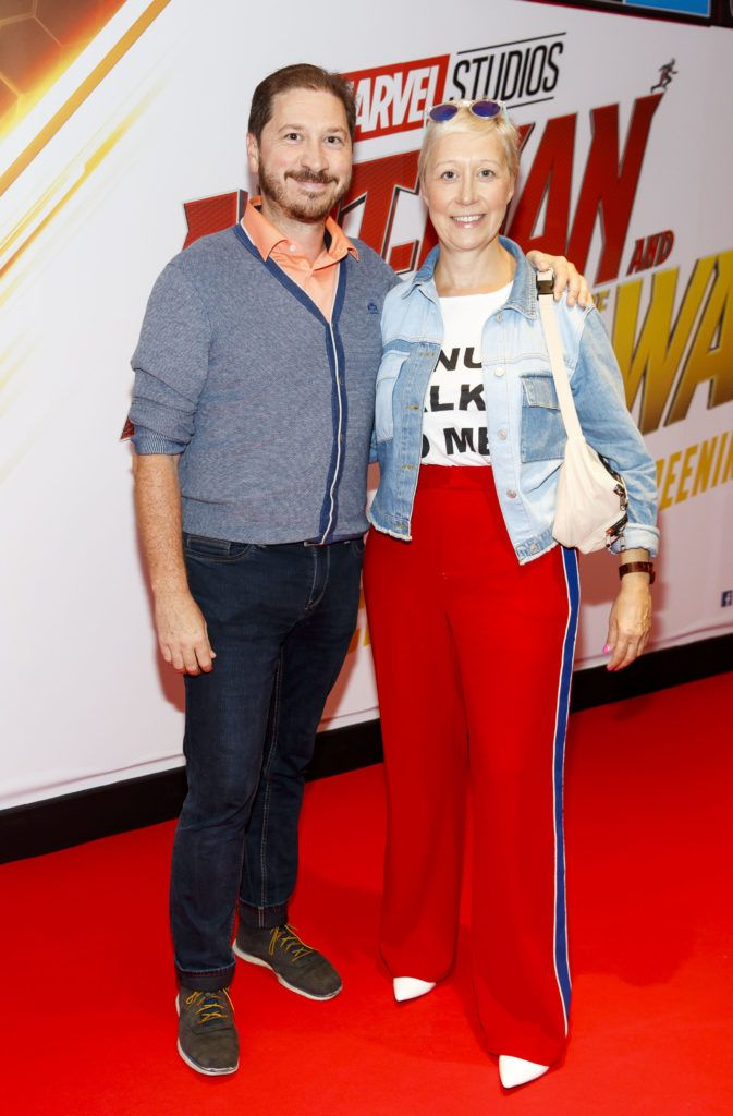 Stylist Sonja Mohlich with brother Peter Mohlich pictured at the Marvel Studios special preview screening of ANT MAN AND THE WASP in Cineworld IMAX Dublin. Picture Andres Poveda
