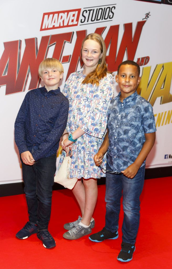 Ben Mahon (9) Lene Mahon (12) and Oisín Twomey (8) pictured at the Marvel Studios special preview screening of ANT MAN AND THE WASP in Cineworld IMAX Dublin. Picture Andres Poveda