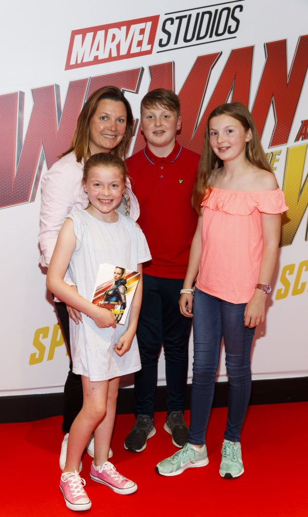 Suzy O'Byrne with children Saoirse and Cian and Sadbh pictured at the Marvel Studios special preview screening of ANT MAN AND THE WASP in Cineworld IMAX Dublin. Picture Andres Poveda