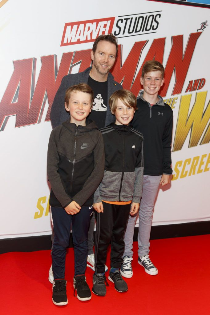 Dermot Whelan is pictured with Mathew Whelan, Eoin Whelan and Jack Clune (12) at the Marvel Studios special preview screening of ANT MAN AND THE WASP in Cineworld IMAX Dublin. Picture Andres Poveda