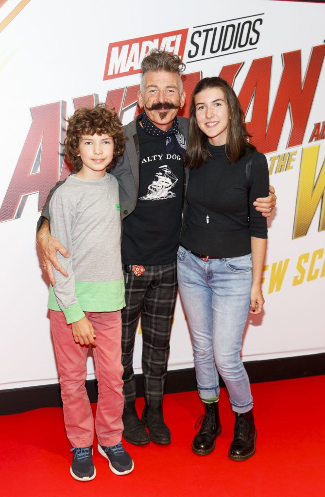 Jerry Fish with kids Ella Whelan and Sam Whelan pictured at the Marvel Studios special preview screening of ANT MAN AND THE WASP in Cineworld IMAX Dublin. Picture Andres Poveda
