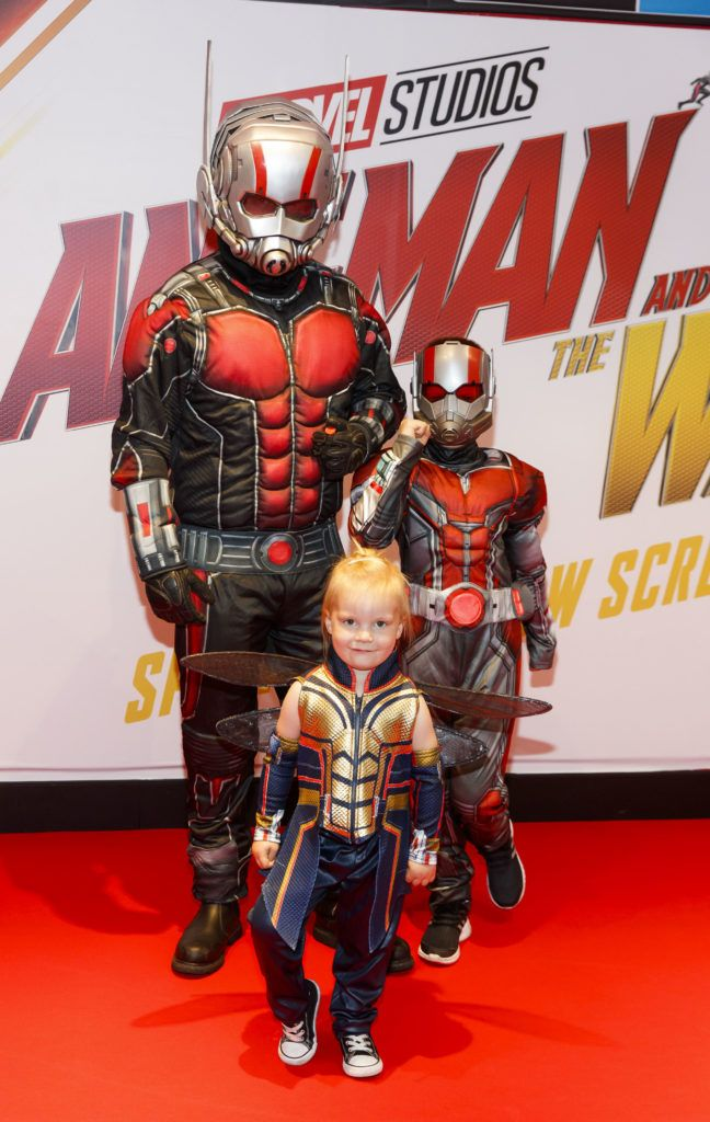 Anthony Murphy with kids Lana O'Brien (4) and Tony O'Brien (8) pictured at the Marvel Studios special preview screening of ANT MAN AND THE WASP in Cineworld IMAX Dublin. Picture Andres Poveda