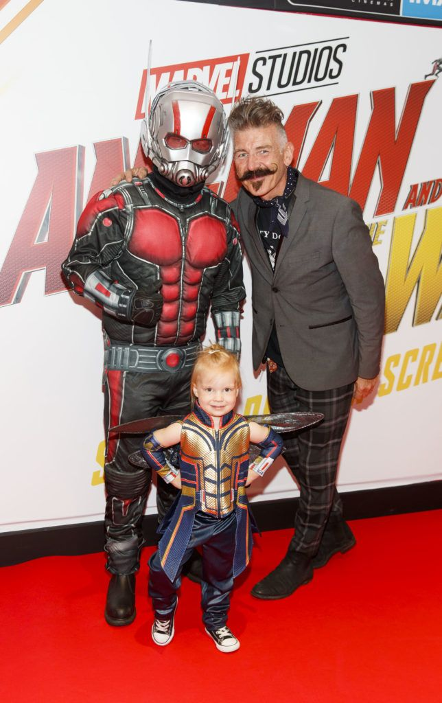 Jerry Fish pictured with Ant-Man (Anthony Murphy ) and mini Wasp Lana O'Brien (4) at the Marvel Studios special preview screening of ANT MAN AND THE WASP in Cineworld IMAX Dublin. Picture Andres Poveda