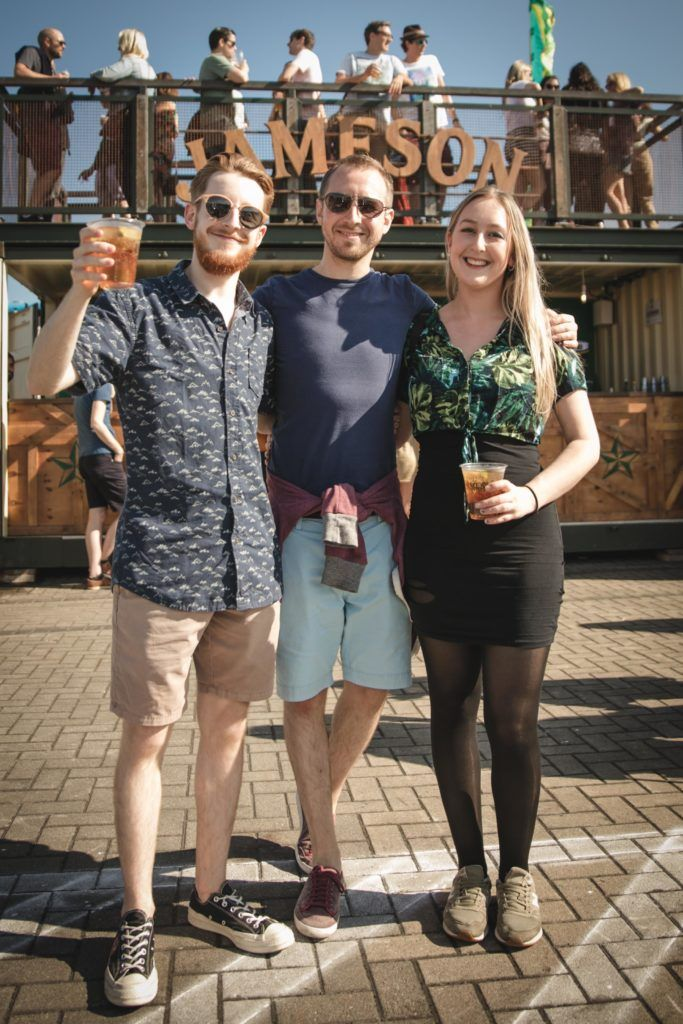 Pictured here is Zak Atkinson, Gareth Atkinson and Meisha Atkinson at Beatyard in partnership with Jameson Irish Whiskey. Taking place throughout the August bank holiday weekend in Dun Laoghaire. Picture: Derek Kennedy