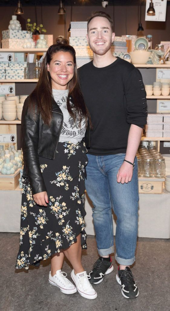 Nadia El Ferdaoussi and Aidan Corcoran at the opening of Søstrene Grene on South Great Georges Street, Dublin. Picture: Brian McEvoy Photograpy