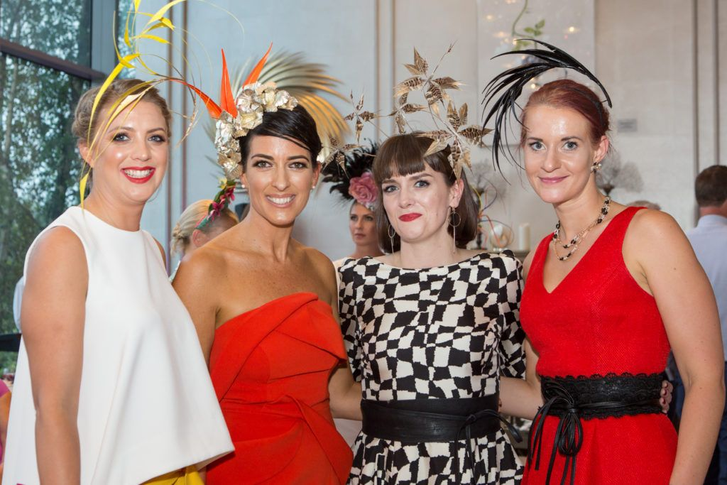 Verity Lawrence, Lisa McGowan, Milliner Michelle Kearns and Maura Kenny at the Ladies Day After Party in the g Hotel & Spa. Photo: Martina Regan