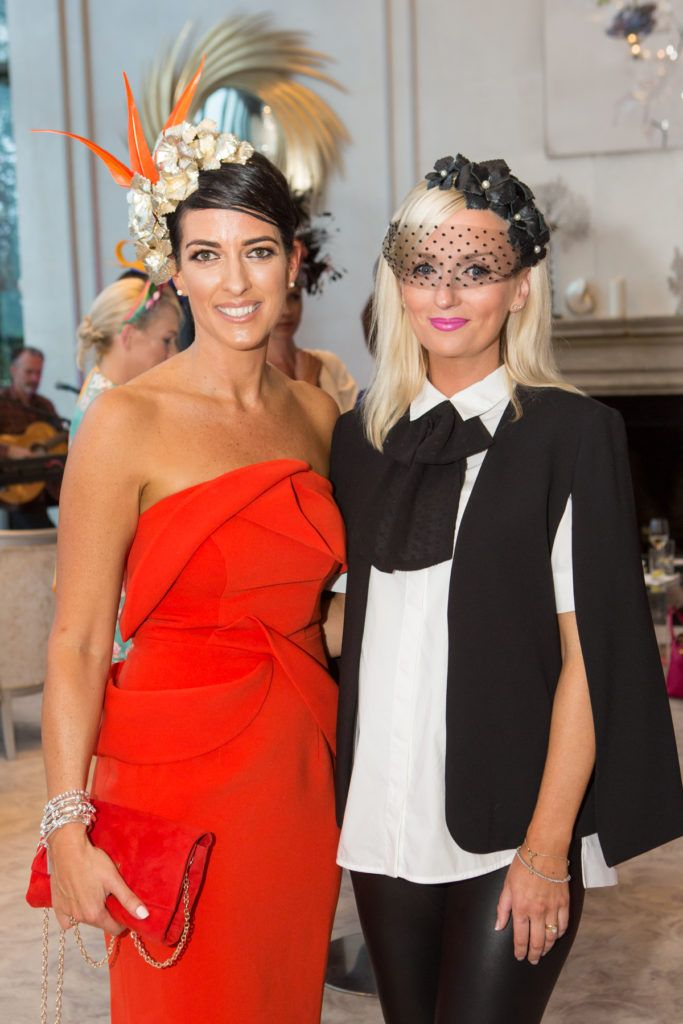 Lisa McGowan and Milliner Edel Ramberg at the Ladies Day After Party in the g Hotel & Spa. Photo: Martina Regan