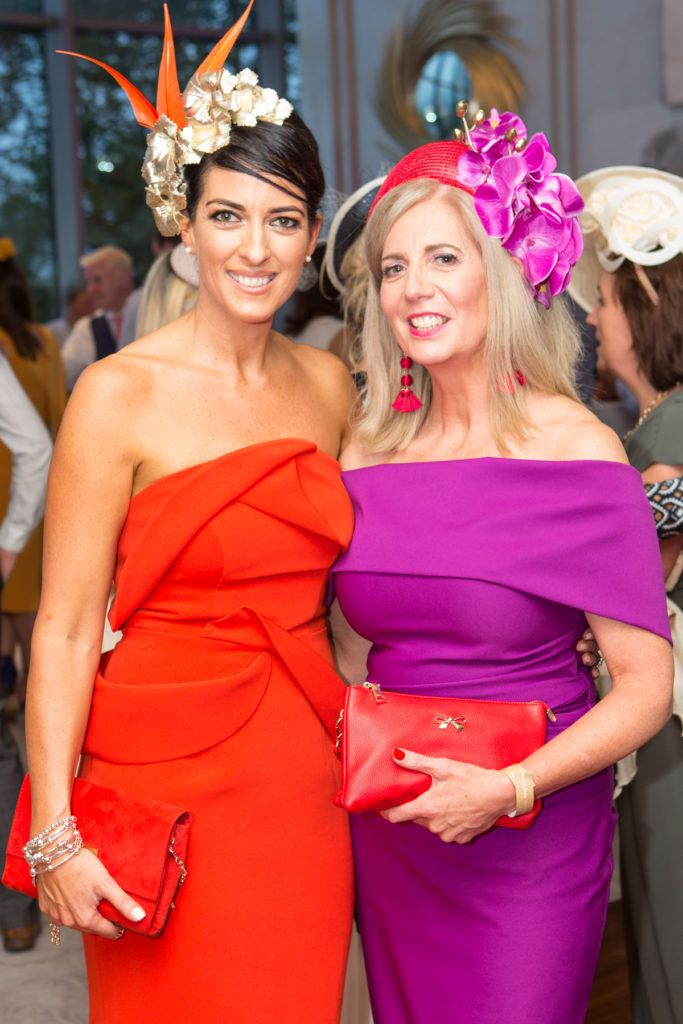 Lisa McGowan and Milliner Majella Lennon at the Ladies Day After Party in the g Hotel & Spa. Photo: Martina Regan