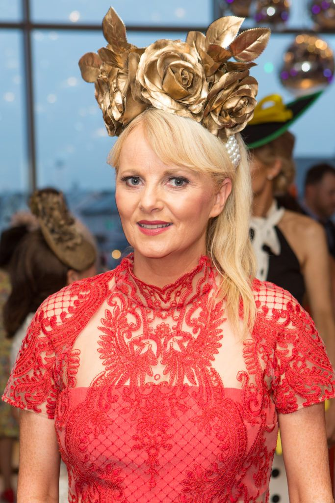 Milliner Brid O'Driscoll at the Ladies Day After Party in the g Hotel & Spa. Photo: Martina Regan
