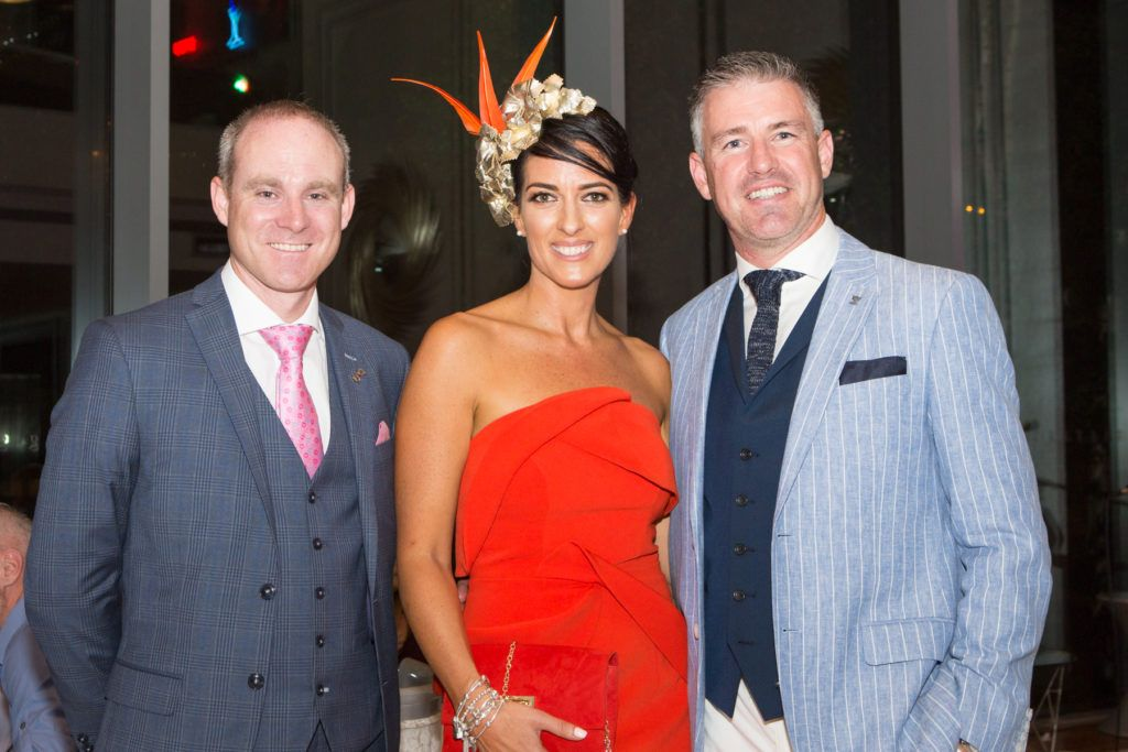 Andrew Drysdale, GM, g Hotel, Lisa McGowan and Winner of the g Hotel Most Stylish Man, Gavin Fleet at the Ladies Day After Party in the g Hotel & Spa. Photo: Martina Regan