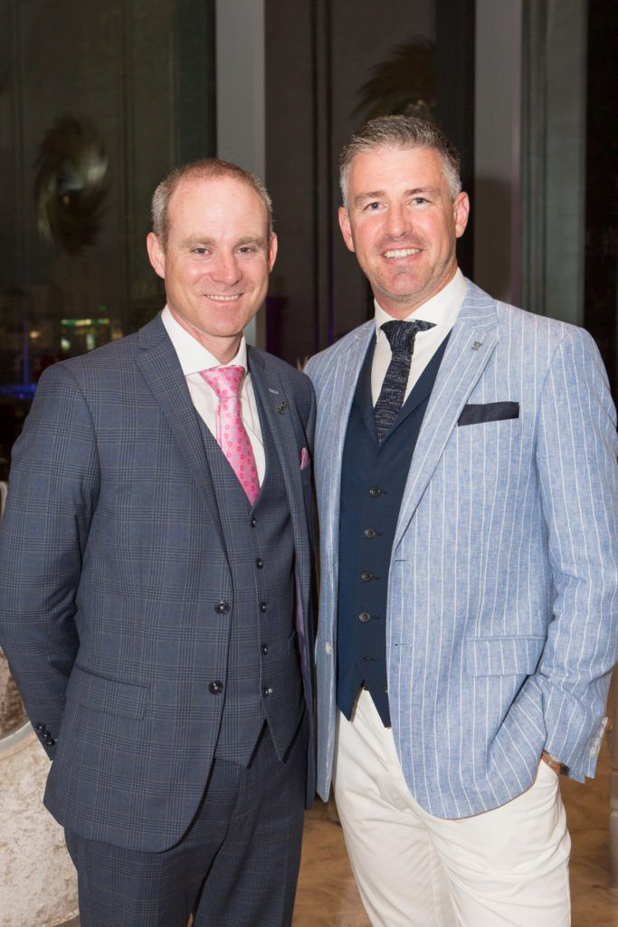 Andrew Drysdale, GM, g Hotel and Winner of the g Hotel Most Stylish Man, Gavin Fleet at the Ladies Day After Party in the g Hotel & Spa. Photo: Martina Regan