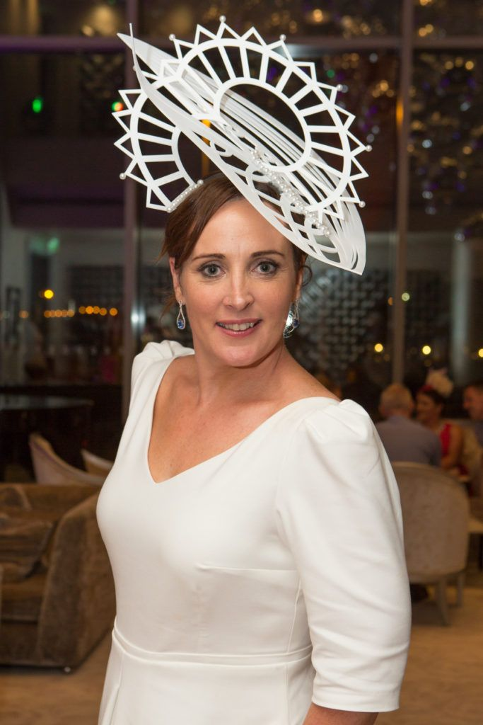 Milliner Caithriona King at the Ladies Day After Party in the g Hotel & Spa. Photo: Martina Regan