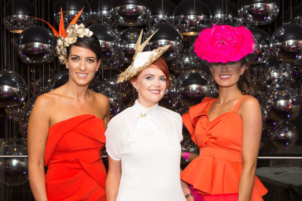 Lisa McGowan, Milliner Tina Hemlock and Winner of the g Hotel Best Hat, Aoife O'Sullivan at the Ladies Day After Party in the g Hotel & Spa. Photo: Martina Regan