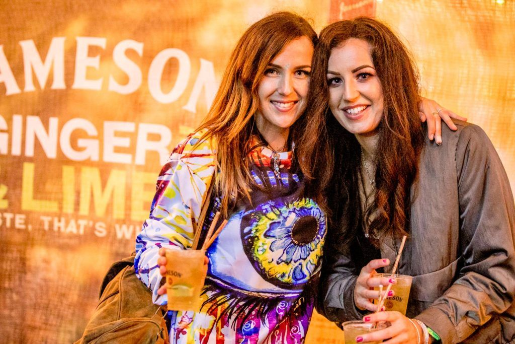 Fiona Cushley & Dee Molloy pictured at The Jameson Bar at All together now Festival in Waterford over the Bank holiday weekend. Picture: Allen Kiely