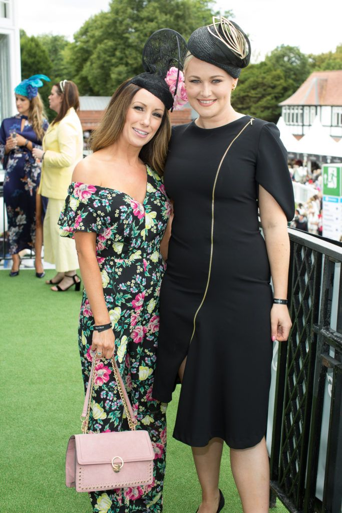 Claire Tenwick & Lorma Weightman pictured at the Dundrum Town Centre Ladies Day at the Dublin Horse Show. This years winner was Deirdre Kane from Carlow. Photo: Anthony Woods