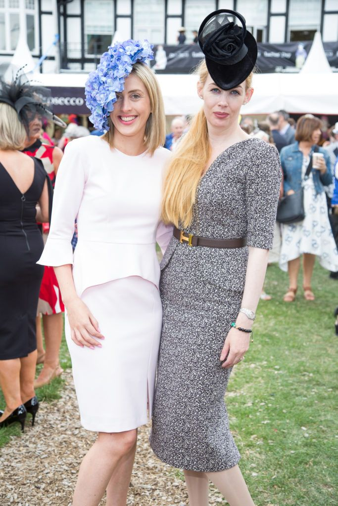 Heidi Higgins & Fiona Foy Holland pictured at the Dundrum Town Centre Ladies Day at the Dublin Horse Show. This years winner was Deirdre Kane from Carlow. Photo: Anthony Woods