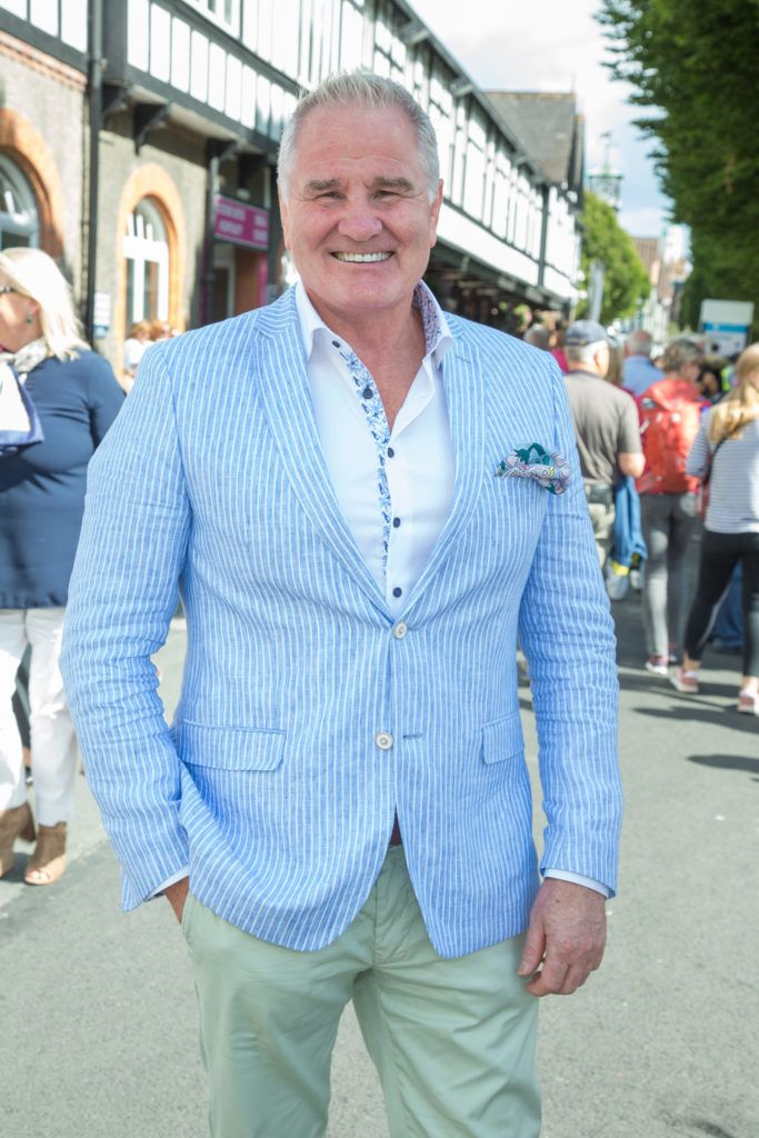 Brent Pope pictured at the Dundrum Town Centre Ladies Day at the Dublin Horse Show. This years winner was Deirdre Kane from Carlow. Photo: Anthony Woods