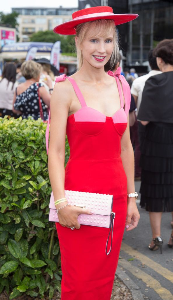 Sarah Donworth pictured at the Dundrum Town Centre Ladies Day at the Dublin Horse Show. This years winner was Deirdre Kane from Carlow. Photo: Anthony Woods