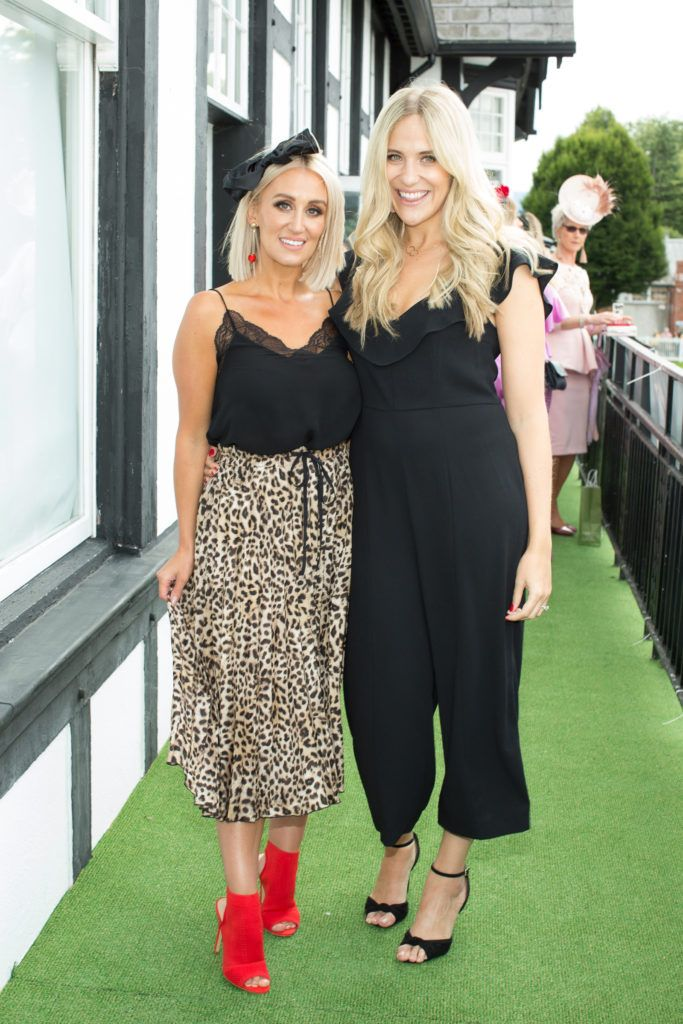 Marissa Carter & Clodagh Egan pictured at the Dundrum Town Centre Ladies Day at the Dublin Horse Show. This years winner was Deirdre Kane from Carlow. Photo: Anthony Woods