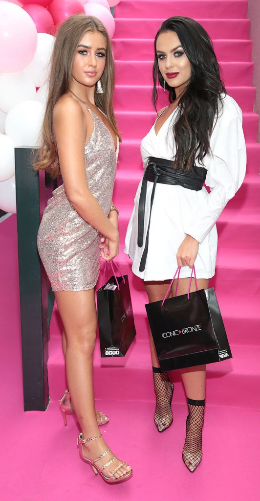 Love Island beauties Georgia Steel & Rosie Williams pictured as they jetted into Ireland for the Iconic Bronze Tan glitzy party at Dublin's Ivy Garden Hotel. Picture: Brian McEvoy