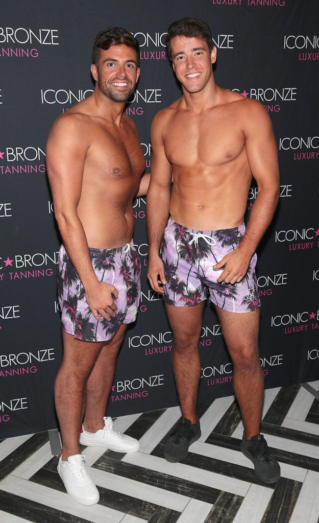 Karl Bowe and Leonardo Venoas at the Iconic Bronze Extra Dark Tan launch at the Ivy Garden Hotel, Dublin. Picture: Brian McEvoy