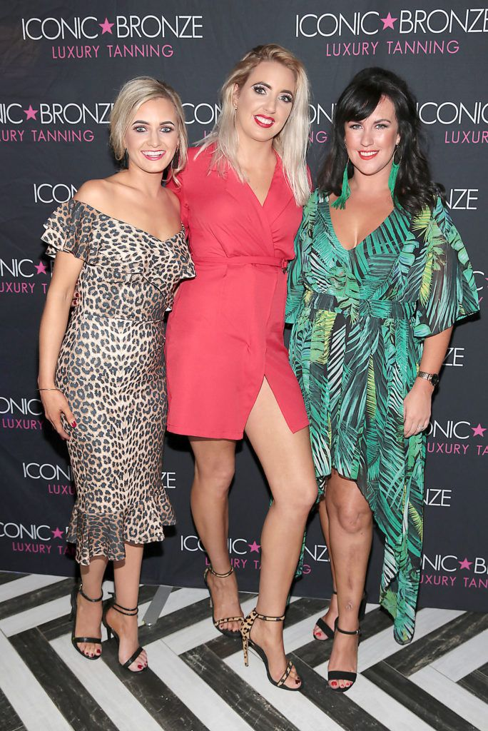 Miakle O Neill and Kerri McNamee and Laura McNamee at the Iconic Bronze Extra Dark Tan launch at the Ivy Garden Hotel, Dublin. Picture: Brian McEvoy