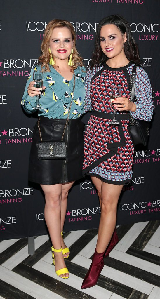 Nadine McCallum and Leanne McCandley at the Iconic Bronze Extra Dark Tan launch at the Ivy Garden Hotel,Dublin. Picture: Brian McEvoy