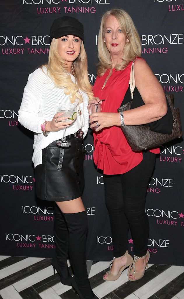 Stacey Dardis and Anne Dardis at the Iconic Bronze Extra Dark Tan launch at the Ivy Garden Hotel, Dublin. Picture: Brian McEvoy