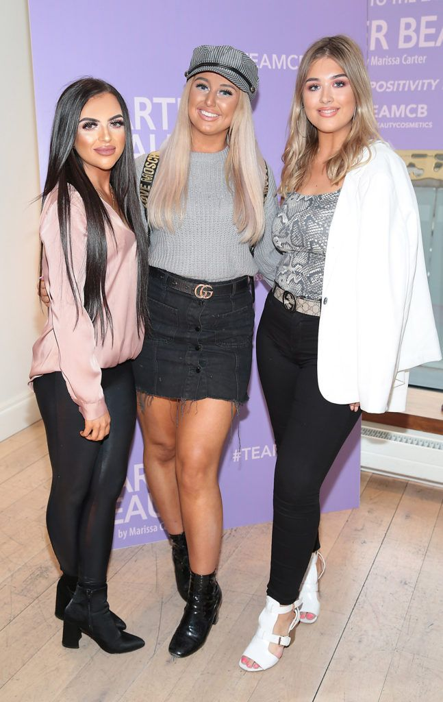 Sinead Rice,Ellie McDonagh and Tia Duffy pictured at the launch of Carter Beauty Cosmetics at the Morrison Hotel Dublin. Picture: Brian McEvoy
