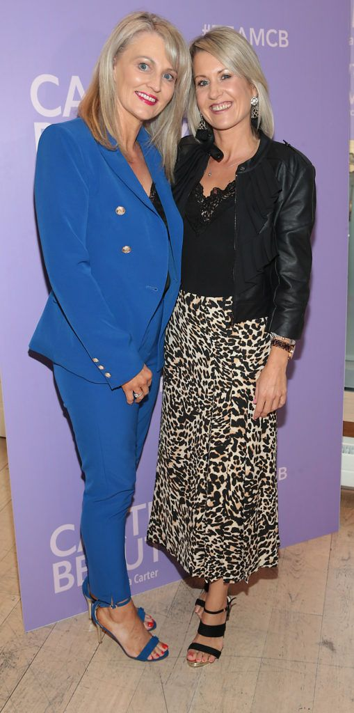 Catherine Nolan and Gayle Flood pictured at the launch of Carter Beauty Cosmetics at the Morrison Hotel Dublin. Picture: Brian McEvoy