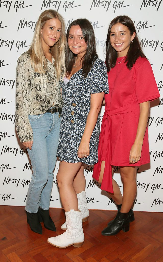 Becca Stratton, Vicky James and Sarah Parry at The NastyGal.com Autumn Winter Showcase at Drury Buildings Dublin Picture: Brian McEvoy