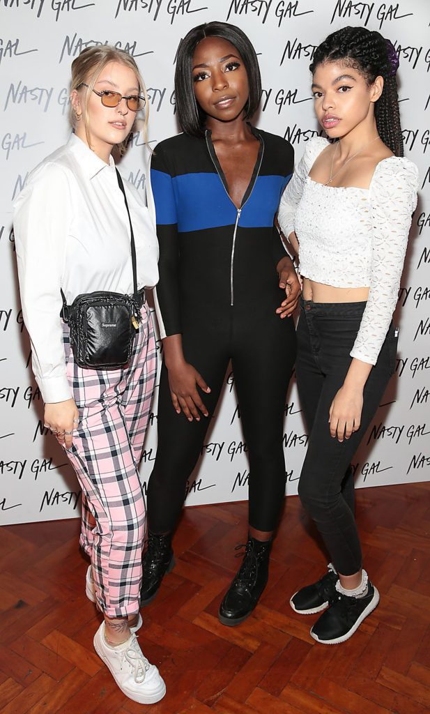 Dash Makaroff , Fae Nwoga and Nathalie Turner at The NastyGal.com Autumn Winter Showcase at Drury Buildings Dublin Picture: Brian McEvoy