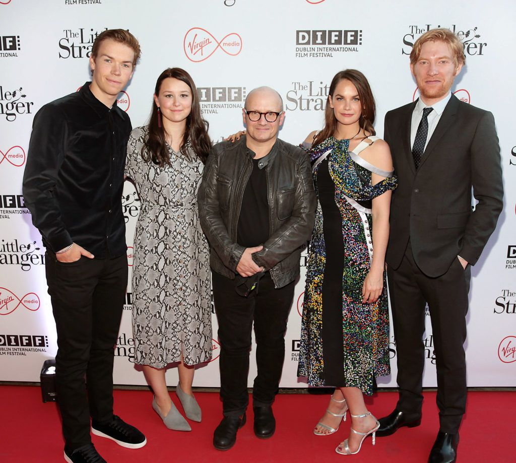 Director Lenny Abrahamson (centre) with actors Will Poulter, Liv Hill, Ruth Wilson and Domhnall Gleeson at the European premiere of The Little Stranger. Photo: Brian McEvoy