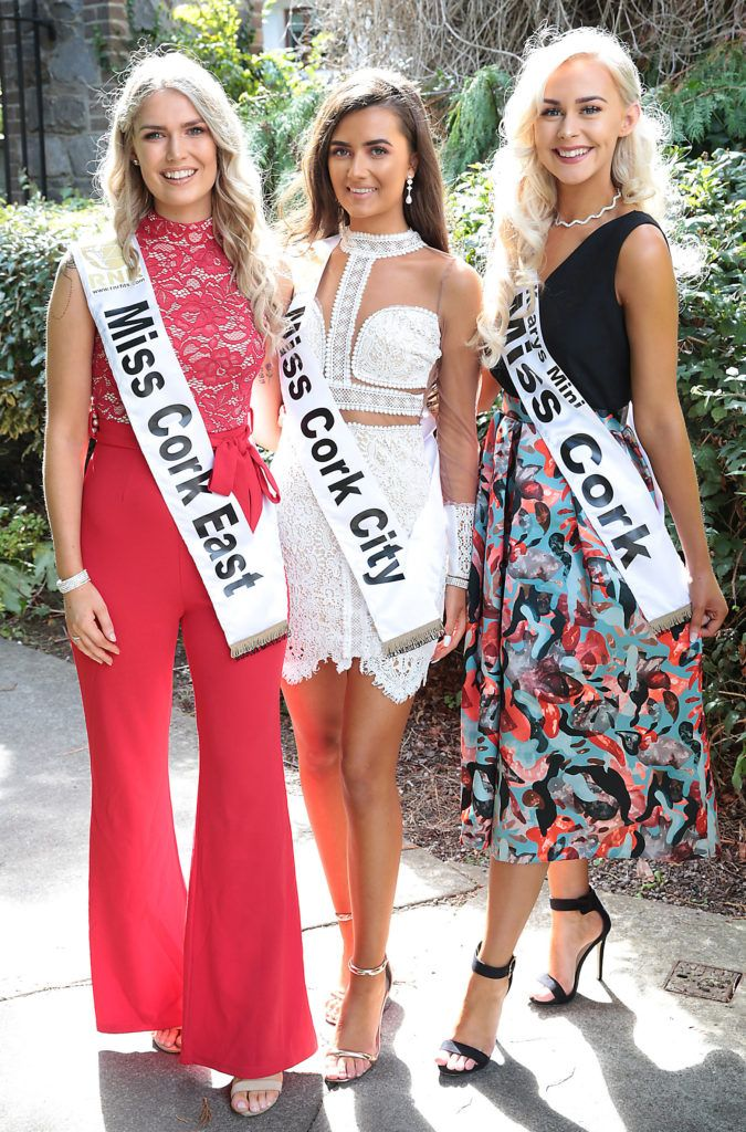 Miss Cork East Ciara Mulry - is from Saleen, Co Cork, Miss Cork City Aoife O Shaughnessy - is from Cork City and Miss Cork Tara Marie Nolan - is from Cloughduv, Cork. Photo: Brian McEvoy Miss Ireland 2018