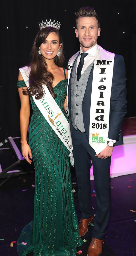 Aoife O Sullivan from Ballinadee, Kinsale, Cork who was crowned Miss Ireland 2018 and Wayne Walsh from Gort, Co Galway who was crowned Mr Ireland 2018 at the grand final of Miss Ireland 2018. Photo by Brian McEvoy