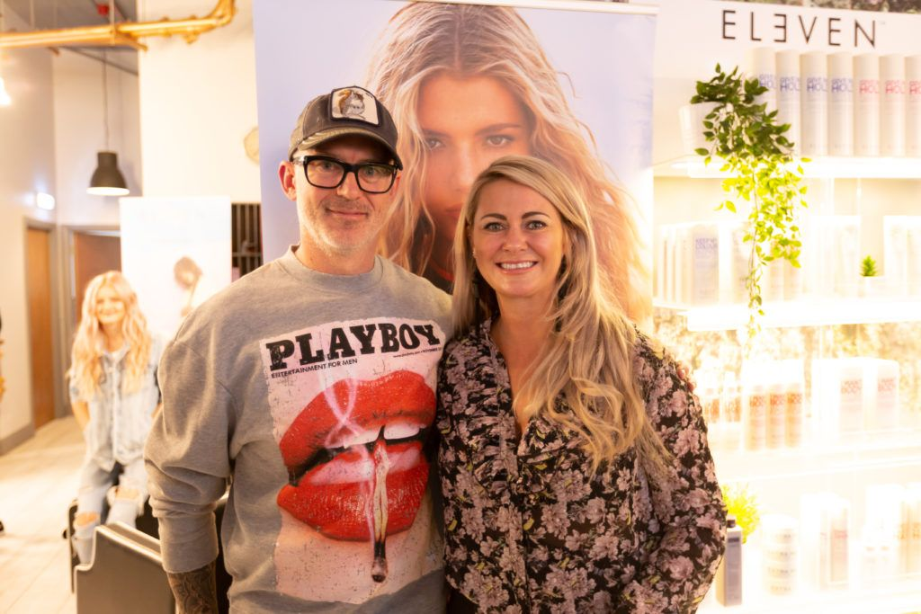 Paul Hession and Anita Donoghue at the Eleven Australia industry launch in The Hair Cafe Smithfield. Photo: Peter Regazzoli