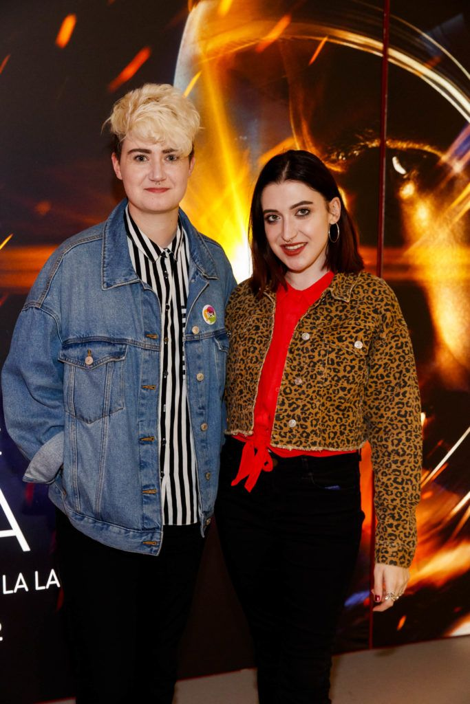 Jess Trimble and Leanne Woodfull pictured at an exclusive first look at up-coming feature film First Man at Dublin's Light House Cinema. Picture Andres Poveda