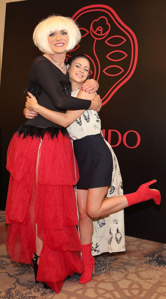 Miss Candy and Amanda Brunker at the Shiseido International Charity Lunch and Fashion Show in aid of the Rape Crisis Centre hosted by catwalk queen Miss Candy at the Westin Hotel, Dublin. Pic Brian McEvoy Photography
