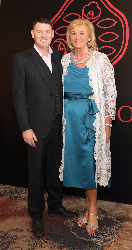 Robbie Kane and Aileen O'Meara at the Shiseido International Charity Lunch and Fashion Show in aid of the Rape Crisis Centre hosted by catwalk queen Miss Candy at the Westin Hotel, Dublin. Pic Brian McEvoy Photography