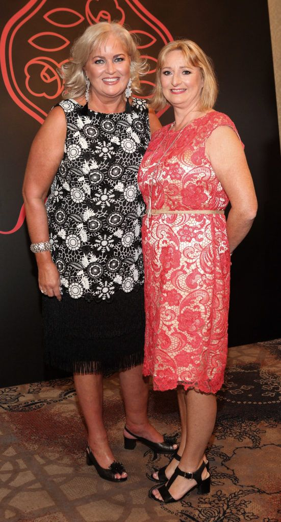 Sallyanne Clarke and Charlotte Maguire at the Shiseido International Charity Lunch and Fashion Show in aid of the Rape Crisis Centre hosted by catwalk queen Miss Candy at the Westin Hotel, Dublin. Pic Brian McEvoy Photography