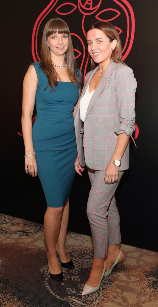 Eibhlin Hewitt and Aileen Ennis at the Shiseido International Charity Lunch and Fashion Show in aid of the Rape Crisis Centre hosted by catwalk queen Miss Candy at the Westin Hotel, Dublin. Pic Brian McEvoy Photography