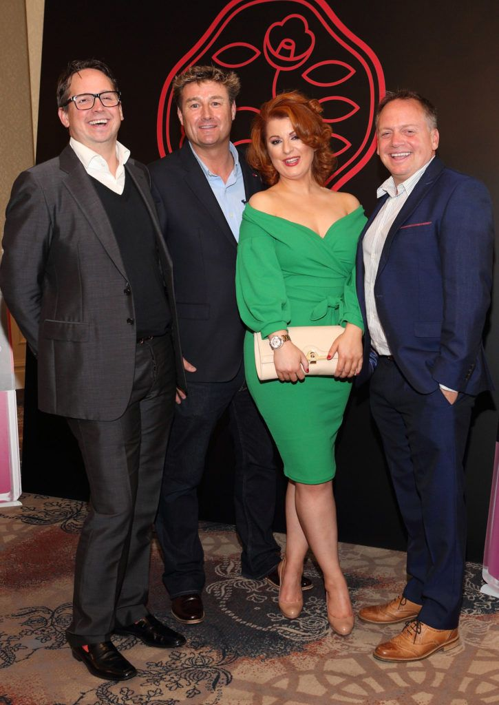 Sean Ormonde, Kevin McCrudden, Sabena Moylan and Edward Ormonde at the Shiseido International Charity Lunch and Fashion Show in aid of the Rape Crisis Centre hosted by catwalk queen Miss Candy at the Westin Hotel, Dublin. Pic Brian McEvoy Photography