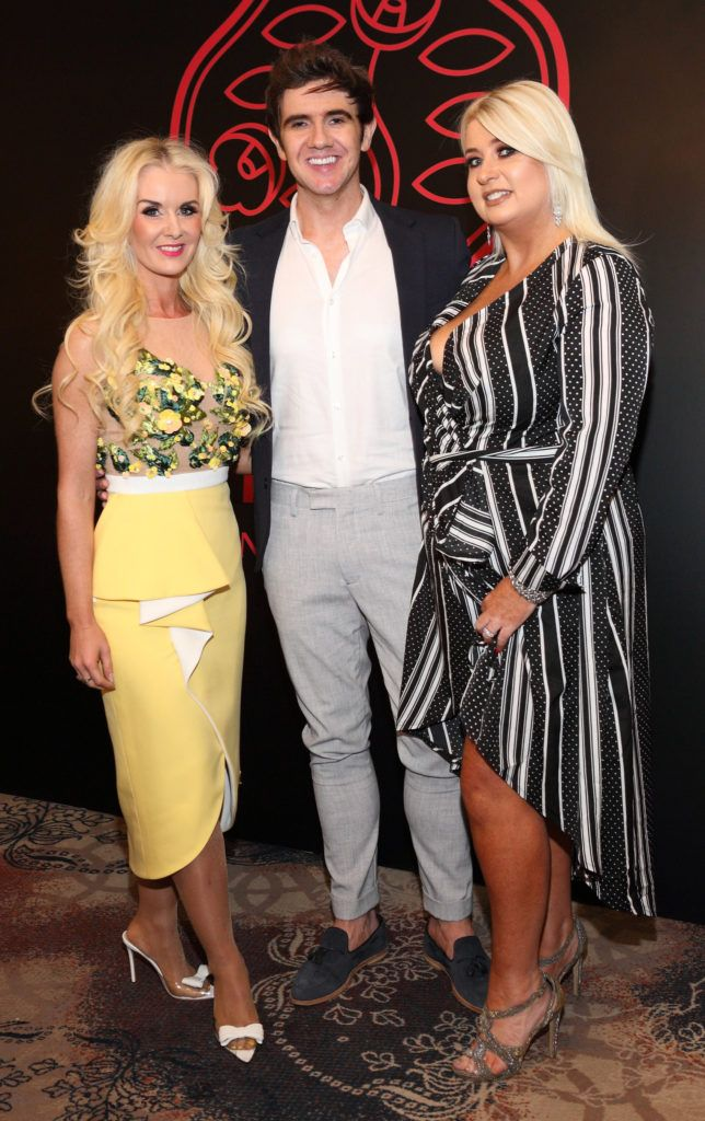 Aisling Holly, Niall Holly and Sharon Hennessy at the Shiseido International Charity Lunch and Fashion Show in aid of the Rape Crisis Centre hosted by catwalk queen Miss Candy at the Westin Hotel, Dublin. Pic Brian McEvoy Photography